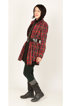 forest green tights - red checkered Authentic shirt - black skirt