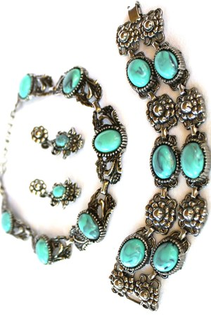 turquoise blue Vintage Southwest Neclace Earrings & bracelet