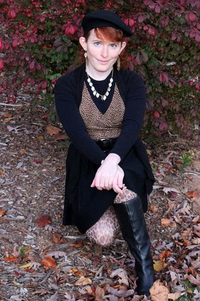 black Style & Co shirt - tan leg avenue tights - dark khaki Michael Kors top