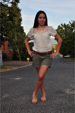 beige Mr Price blouse - beige Shoe HQ shoes - green Ackermans shorts - brown Ack
