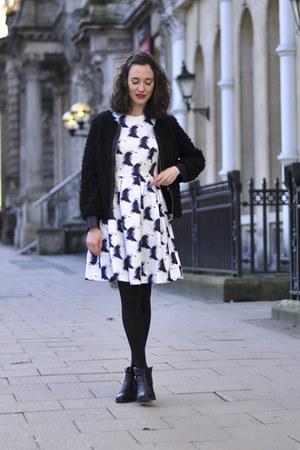 black studded blink boots - white H&M dress - black Choies jacket