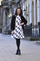 black studded blink boots - white H&M dress - black Choies jacket