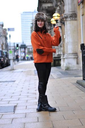black leather biker sendra boots - brown fur H&M hat