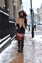 black biker sendra boots - black leather Zara leggings - tawny david jones bag