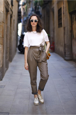 heather gray leather Zara pants - white brogues Sixtyseven shoes