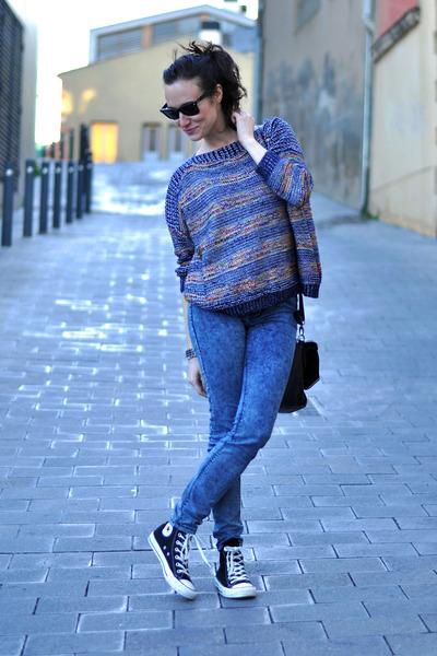 navy stripes romwe jumper - blue Zara jeans - black Zara bag