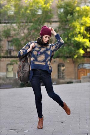 navy sammydress jumper - tawny bullboxer boots - navy Zara jeans