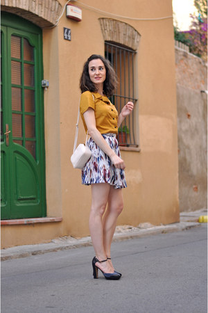 mustard Silvia Balmaseda shirt - ivory mini H&M bag - brick red evil twin skirt