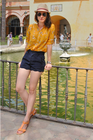 navy scalloped OASAP shorts - cream Levis hat - yellow flowers romwe shirt