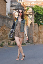 blue denim DIY vest - navy suede vintage bag - brown flowered Oysho romper