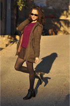 Bershka coat - blink boots - chicnova skirt - Bershka jumper
