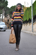 gold striped romwe jumper - dark brown Oasap similar boots