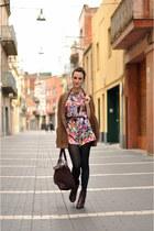 crimson Bocage boots - crimson Zara bag - bronze chunky knit Zara cardigan
