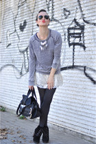 black Mango boots - heather gray Zara sweater - black Zara bag