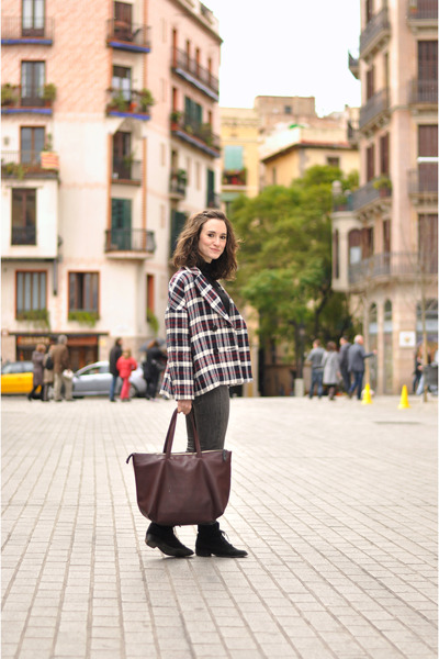 brick red checkered Zara jacket - black suede Betty London boots