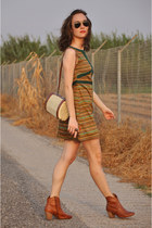 burnt orange stripes Titis Clothing dress - brick red leather bullboxer boots