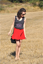 red romwe skirt - black Zara bag - gray DIY top