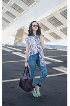 light purple Aysha Zreika shirt - aquamarine t-shape Ana Monsalve shoes