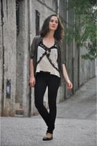 sheer Mango blouse - OASAP bag - lace Zara top - pull&bear pants