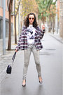 Heather-gray-acid-wash-jeans-crimson-plaid-zara-jacket-black-parfois-bag