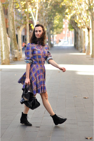 navy plaid girlish pepa loves dress - black Zara bag