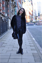 fur Choies coat - studded blink boots - leather Zara leggings - dots romwe shirt