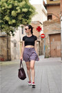 Crimson-tote-zara-bag-purple-tiralahilacha-shorts-black-cropped-diy-top