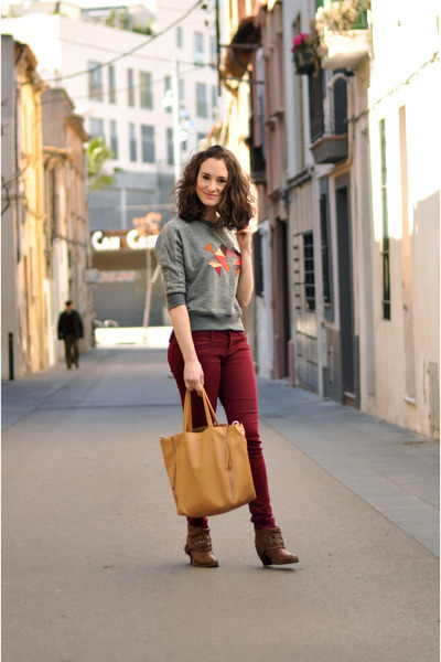 heather gray geometric DIY sweatshirt - brown Zara boots