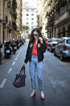 black bomber BLANCO jacket - light blue mom jeans pull&bear jeans