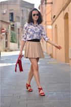 navy toile du jouy suiteblanco shirt - red messenger Zara bag