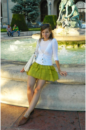 lime green Atmosphere skirt - brown Gortz Shoes shoes - white random cardigan