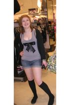 black H&M cardigan - gray Newlook top - black asos socks - silver redherring bra