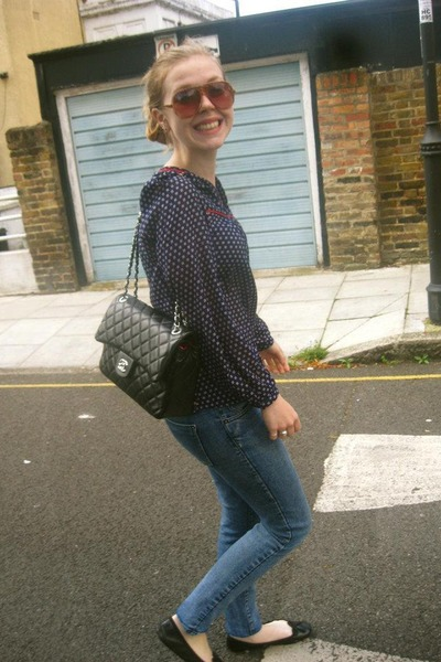 H&M top - Topshop jeans - Chanel bag