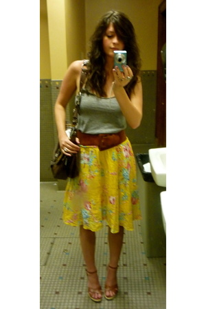 american apparel tri-blend tank - Belt - hype wedges - forever 21 skirt