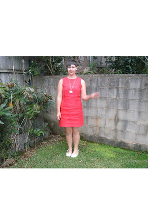 red vintage dress - white Target Australia shoes - white homemade necklace