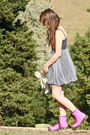 Pink-doc-martens-shoes-beige-teddy-bear-accessories-gray-supre-dress