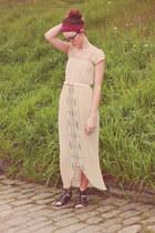 black Target shoes - beige Vintage from deEPOCA dress - maroon thrifted scarf