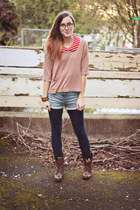 brown Steve Madden boots - light pink H&M sweater - navy American Apparel leggin