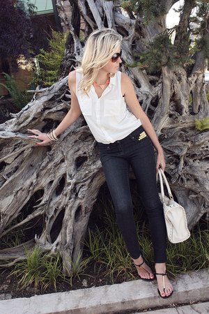 black diy studded Forever 21 jeans - white H&M shirt - black Target sandals
