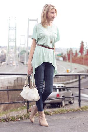 aquamarine Forever 21 shirt - beige Aldo boots - white Prada bag