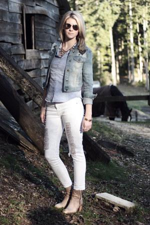 beige Aldo boots - white denim Forever 21 jeans