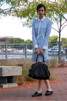 sky blue Gap dress - black JCrew bag - black lace up oxfords Aldo flats