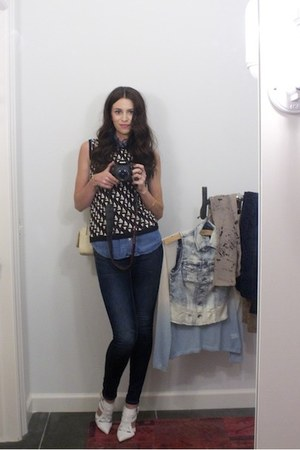 blue Forever 21 shirt - navy Silver Jeans Co jeans - dark brown sweater