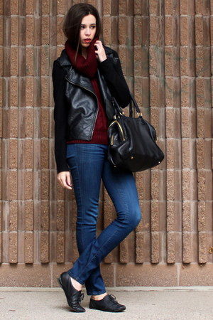 black Forever 21 jacket - blue Level 99 jeans - maroon banana republic sweater