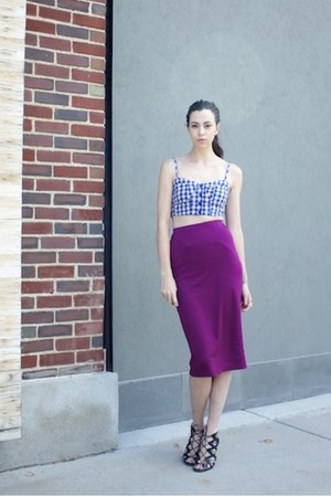 violet cropped gingham BP top - magenta midi pencil asos skirt