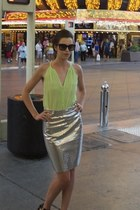 aquamarine Joie top - black Gap sunglasses - silver milly skirt