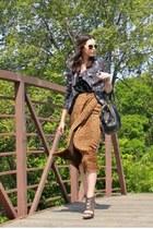 leopard midi vintage Oscar by Oscar de la Renta skirt - Urban Outfitters jacket
