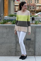 beige Topshop sweater - white skinny jeans citizens of humanity pants