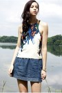 White-tibi-top-blue-denim-mini-club-monaco-skirt