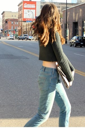 army green t by alexander wang sweater - light blue Levis jeans - tan H&M bag